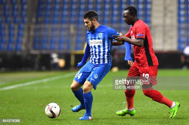 Astra Giurgiu's Boubacar Mansaly and Genk's Alejandro Pozuelo fight for the ball during the Europa League football game between RC Genk and Astra...