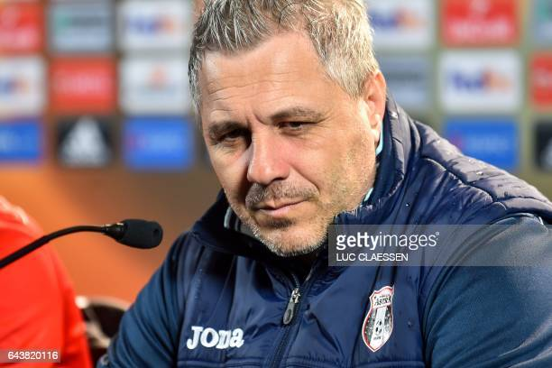 Astra Giurgiu's head coach Marius Sumudica attends a press conference on February 22 in Genk on the eve of the UEFA Europa League football match...
