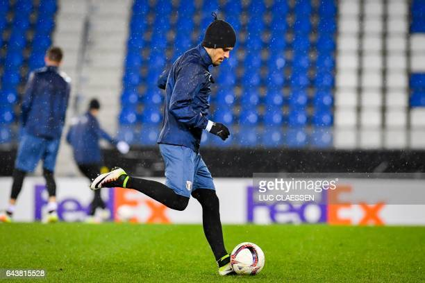 Astra Giurgiu's Romanian forward Daniel Constantin Florea attends a training session on February 22 in Genk on the eve of the UEFA Europa league...