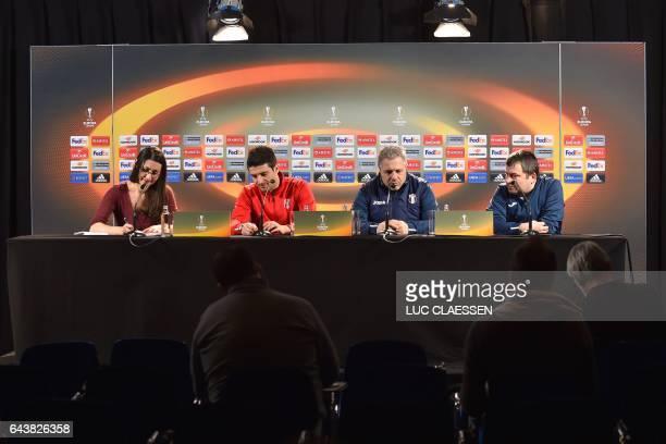 Astra Giurgiu's Romanian forward Daniel Niculae Astra Giurgiu's head coach Marius Sumudica and Astra Giurgiu's spokesman Marian Dima attend a press...