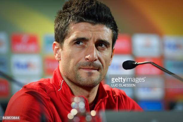 Astra Giurgiu's Romanian forward Daniel Niculae attends a press conference on February 22 in Genk on the eve of the UEFA Europa League football match...