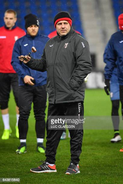 Astra Giurgiu's Romanian head coach Marius Sumudica attends a training session on February 22 in Genk on the eve of the UEFA Europa league football...