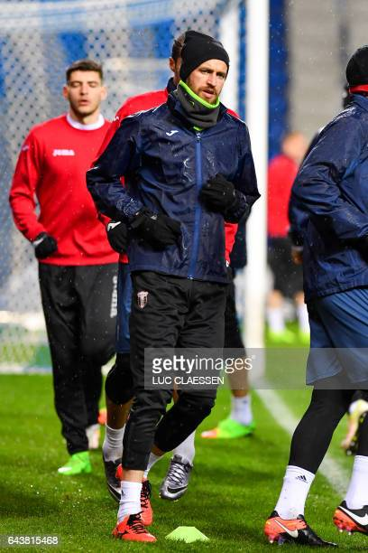 Astra Giurgiu's Romanian midfielder Florin Lovin attends a training session on February 22 in Genk on the eve of the UEFA Europa league football...