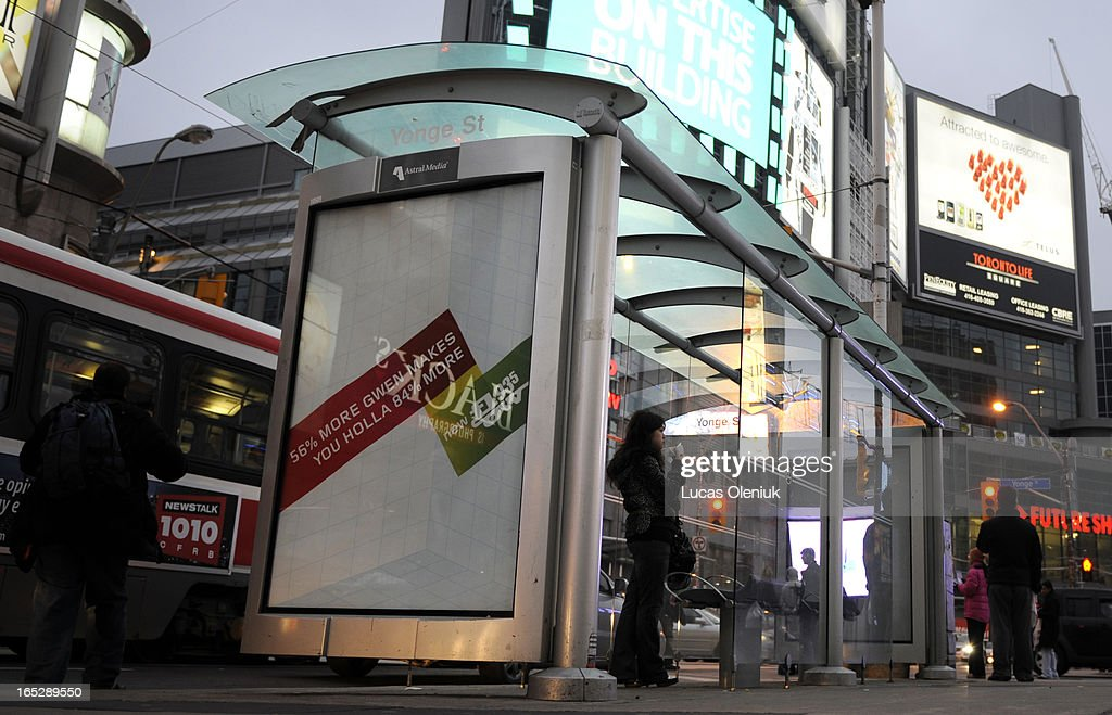 Astral Media ads on bus shelter at Yonge and Dundas Fore Hume feature