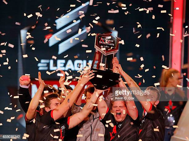 Astralis celebrates winning the ELEAGUE CounterStrike Global Offensive Major Championship final against VirtusPro at Fox Theater on January 29 2017...