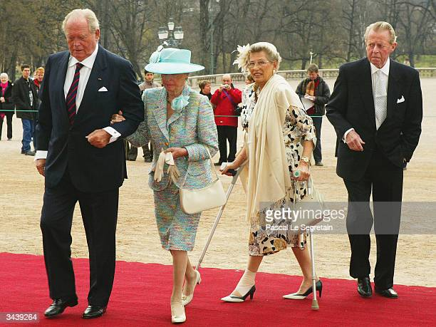 Astrid and Ragnhild sisters of King Harald of Norway arrive with unidentified guests at the christening of Princess Ingrid Alexandra daughter of...