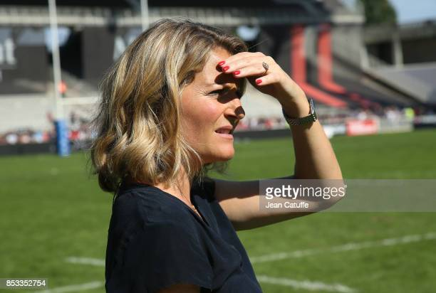 Astrid Bard of Canal Plus comments the Top 14 match between Lyon OU and Castres Olympique at Matmut Stadium on September 24 2017 in Lyon France