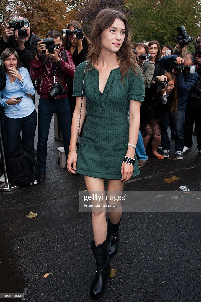 Astrid Berges-Frisbey arrives at the Chanel Spring / Summer 2013 show as part of Paris Fashion Week at Grand Palais on October 2, 2012 in Paris, France.