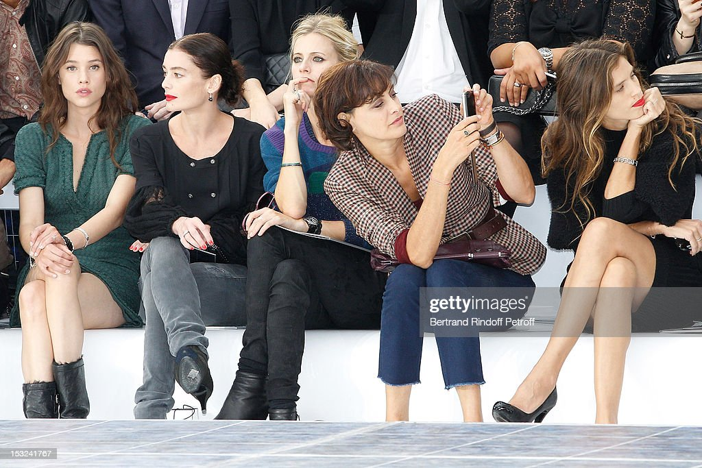 Astrid Berges-Frisbey, Aurelie Dupont, Laura Bailey, Ines de la Fressange and Maiwenn attend the Chanel Spring / Summer 2013 show as part of Paris Fashion Week at Grand Palais on October 2, 2012 in Paris, France.