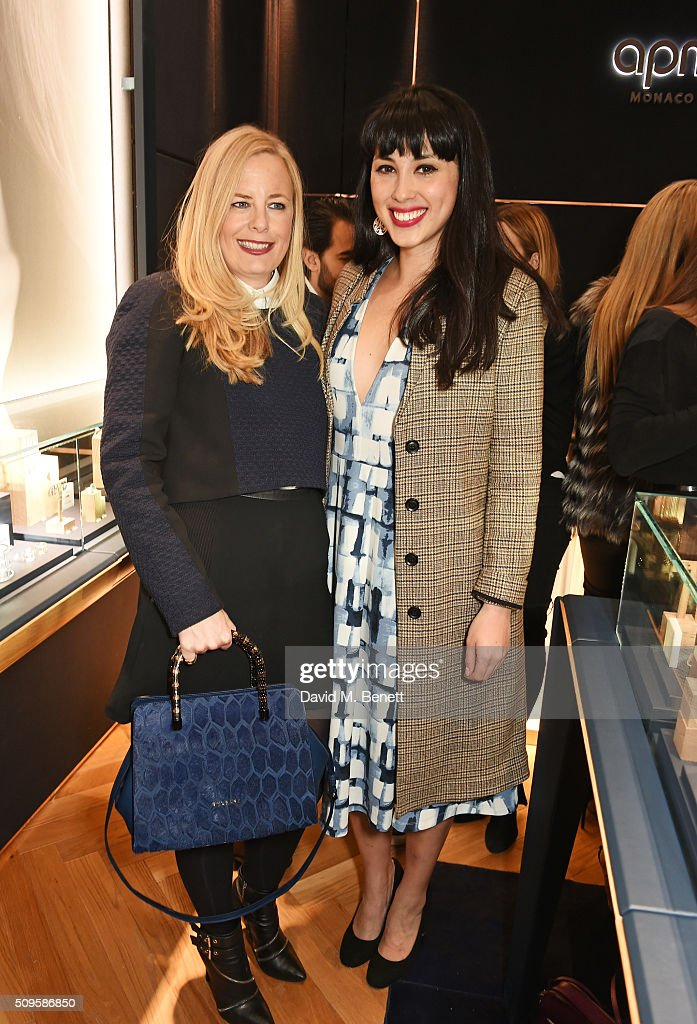 Astrid Harbord (L) and Melissa Hemsley attend the APM Monaco flagship store opening on South Molton Street on February 11, 2016 in London, England.