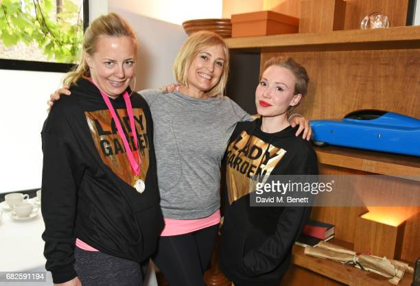 Astrid Harbord Mika Simmons and Daisy Lewis attend the Lady Garden brunch following the 5K 10K Fun Run in aid of Silent No More Gynaecological Cancer...
