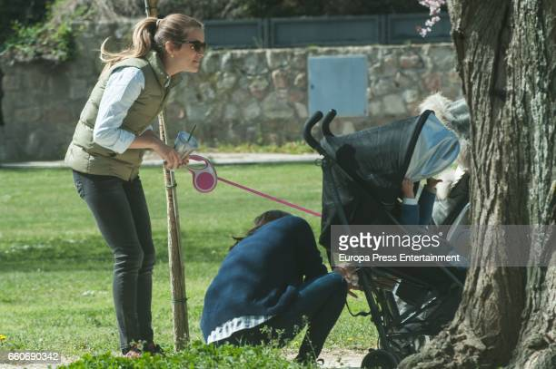Astrid Klisans and her son Markuss Baute are seen on March 17 2017 in Madrid Spain