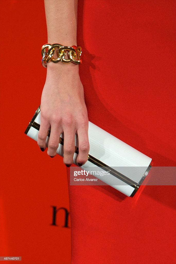 Astrid Klisans (bag detail) attends the 'Mujer de Hoy' awards 2013 at the Hotel Palace on December 17, 2013 in Madrid, Spain.