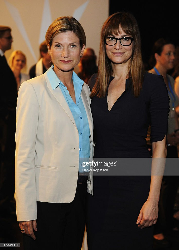 Astrid M. Fuenderich (L) and Alexandra Kamp pose during a photocall of 'SOKO Stuttgart' TV Series on June 20, 2013 in Stuttgart, Germany.