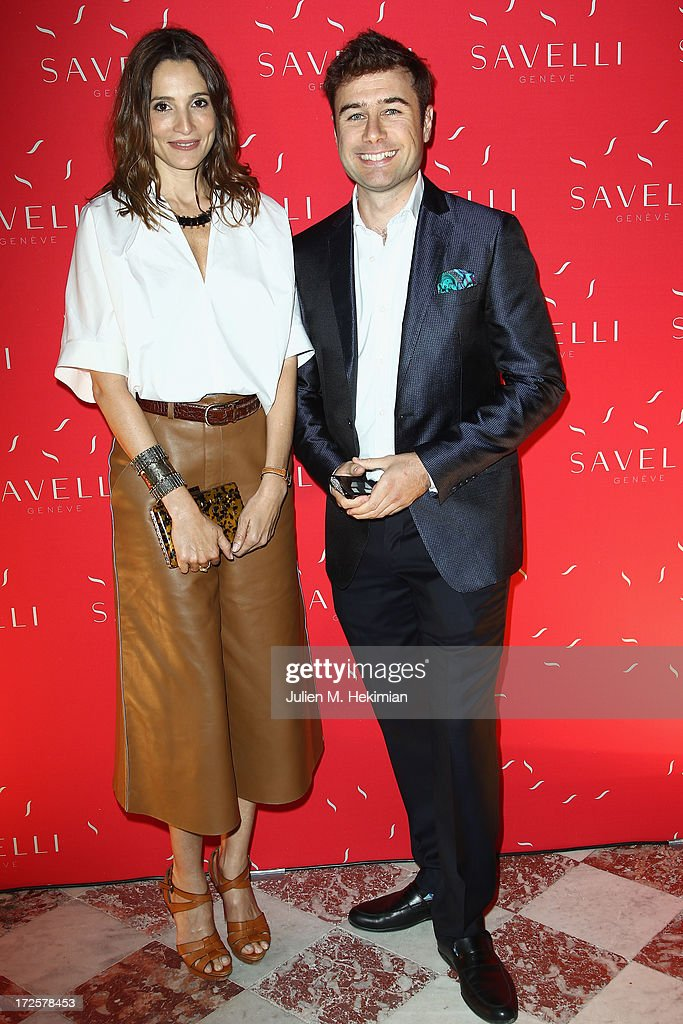 Astrid Muñoz and Alessandro Savelli attend the Founder And CEO Alessandro Savelli And Contemporary Style Icon Julia Restoin Roitfeld Launch SAVELLI The World's First Luxury Smart Phone Especially For Women During Haute Couture Week at Musee Jacquemart-Andre on July 3, 2013 in Paris, France.