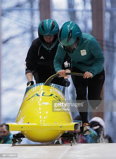 Astrid Radjenovic and Jana Pittman of Australia practise a Women's bobsleigh run ahead of the Sochi 2014 Winter Olympics at the Sanki Sliding Center...