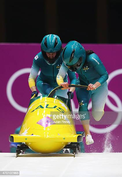 Astrid Radjenovic and Jana Pittman of Australia team 1 make a run during the Women's Bobsleigh heats on day 11 of the Sochi 2014 Winter Olympics at...