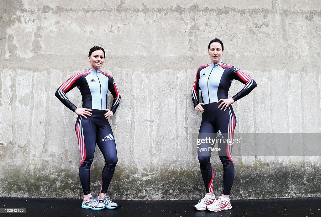 Astrid Radjenovic (L) and Jana Pittman (R) pose during a Australian Women's Bobsleigh Team Portrait Session on March 2, 2013 in Sydney, Australia. Pittman, a former 400m Hurdles World Champion has teamed up with Radjenovic in a bid to compete in the Sochi 2014 Winter Olympics.