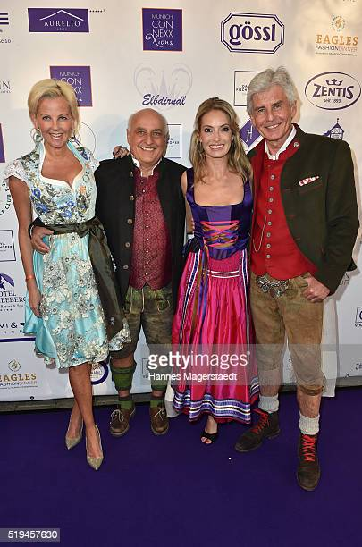 Astrid SoellAxel Munz Sarah Valentina Winkhaus and Frederic Meisner during the 'EAGLES Fashion Dinner' at Nockherberg on April 6 2016 in Munich...