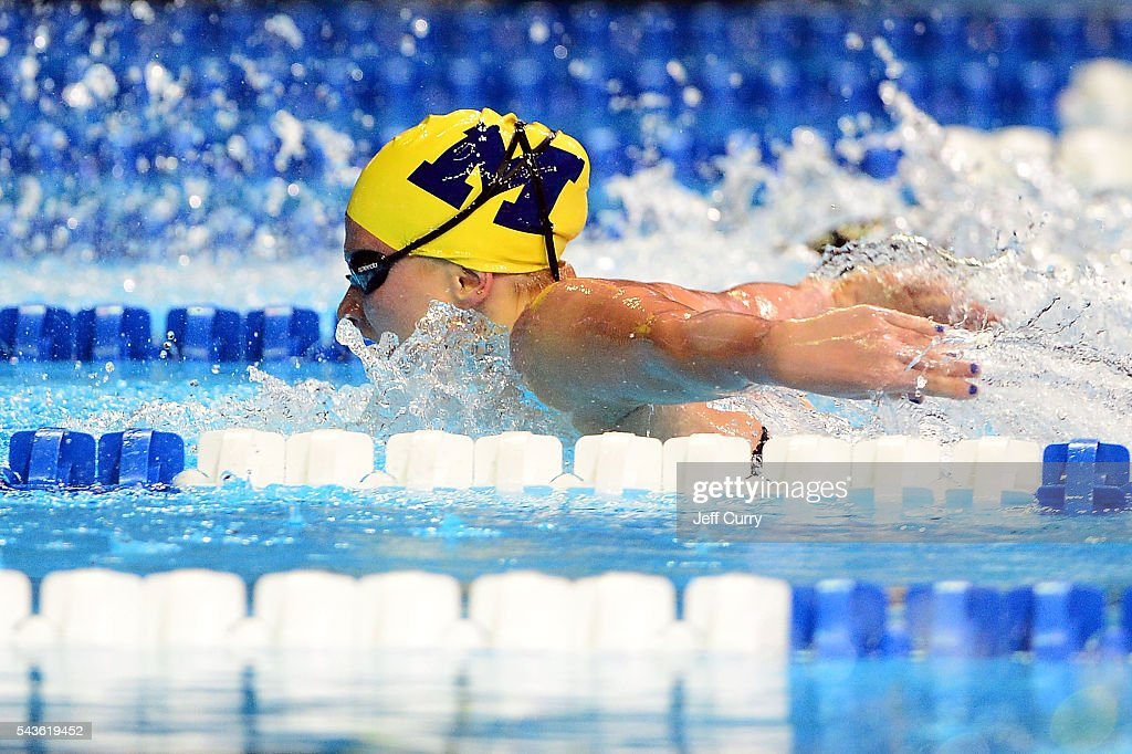 Astrid Swensen of the United States competes in a preliminary heat of the Women's 200 Meter Butterfly during Day 4 of the 2016 U.S. Olympic Team Swimming Trials at CenturyLink Center on June 29, 2016 in Omaha, Nebraska.