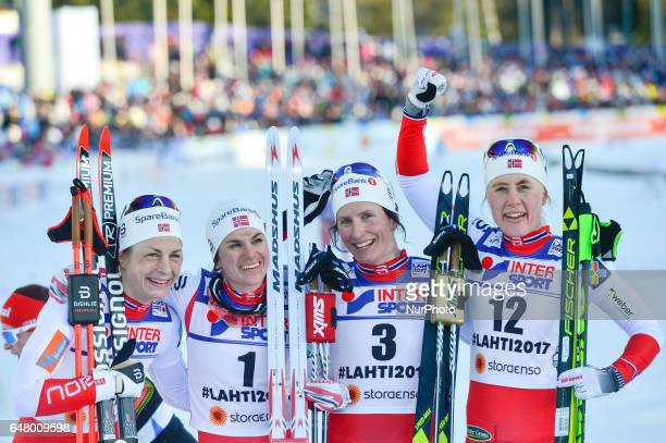 Astrid Uhrenholdt Jacobsen Heidi Weng Marit Bjoergen and Ragnhild Haga all from Norway take the four first places in Ladies crosscountry 30 km Mass...