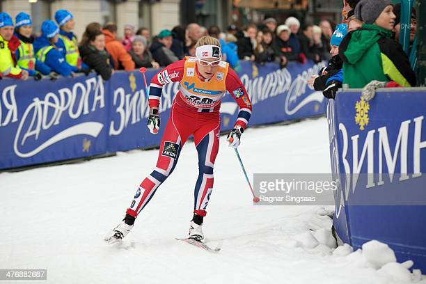 Astrid Uhrenholdt Jacobsen of Norway during the Women's 13km free Sprint Classic Quarterfinal at the Viessmann FIS Cross Country World Cup event on...