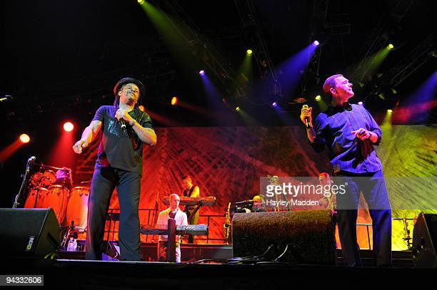 Astro and Duncan Campbell of UB40 perform on stage at O2 Arena on December 12 2009 in London England