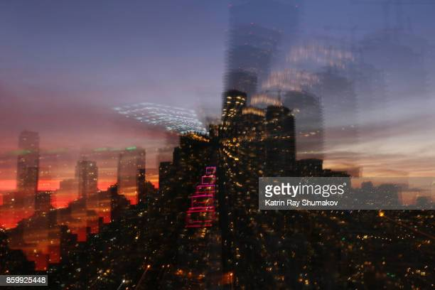 Astro Projection. Sparkling Dimensions of Sunset Cityscapes
