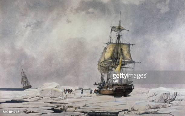 L''Astrolabe' coincé par la banquise en Antartique lors de l'expédition de Jules Dumont d'Urville en février 1938