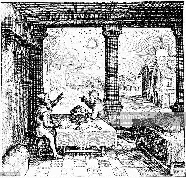 Astrologers preparing a horoscope 16171619 From the title page of section on casting horoscopes in Utriusque cosmi historia Oppenheim [161719]