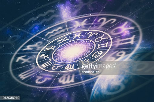 Astrological zodiac signs inside of horoscope circle : Stock Photo