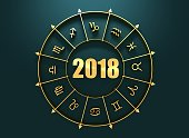 Astrological symbols in the circle. Golden emblem. Metallic material. New Year 2018 numbers. 3d rendering