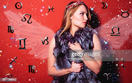 Astrology, twelve zodiac signs, the woman in esoterics : Stock Photo