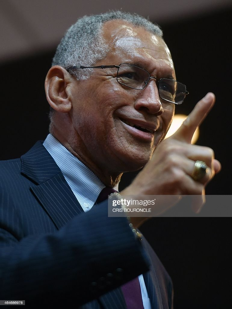 US Astronaut and current Administrator of the National Aeronautics and Space Administration (NASA), <a gi-track='captionPersonalityLinkClicked' href=/galleries/search?phrase=Charles+Bolden+-+Administrador+de+la+NASA&family=editorial&specificpeople=15164541 ng-click='$event.stopPropagation()'>Charles Bolden</a>, answers questions of students during his presentation at a university in Lima on February 27, 2015. Bolden, a four-time space visitor, mentioned that the arrival of humans to Mars by 2030 is one of NASA's goals. AFP PHOTO/CRIS BOURONCLE