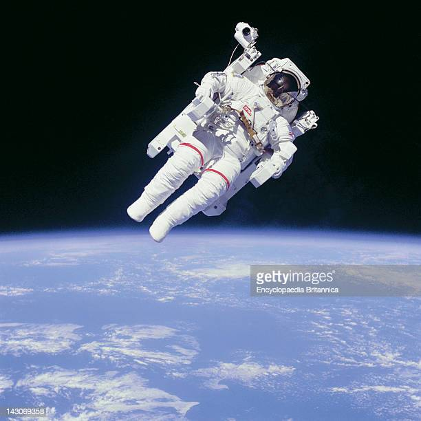 Astronaut Bruce Mccandless Ii In Space Astronaut Bruce Mccandless Floating In Space On The First Untethered Spacewalk Feb 1984