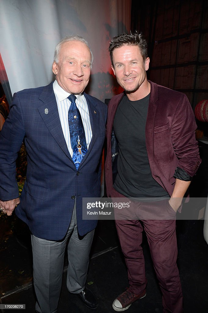 Astronaut Buzz Aldrin and skydiver Felix Baumgartner attend the 2013 Spike TV Guys Choice at Sony Pictures Studios on June 8 2013 in Culver City...