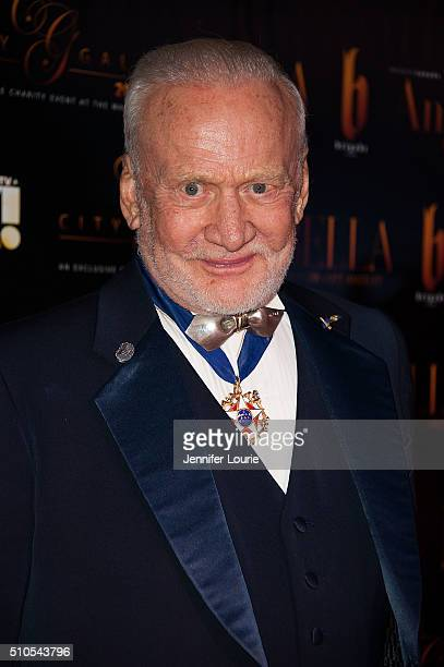 Astronaut Buzz Aldrin arrives at the 2016 City Gala Fundraiser at The Playboy Mansion on February 15 2016 in Los Angeles California