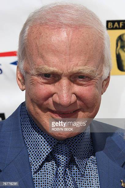 US astronaut Buzz Aldrin arrives for a preEmmy Awards tea party hosted by the British Academy of Film Television Arts/Los Angeles and the Academy of...