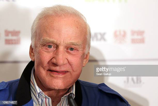 Astronaut Buzz Aldrin attends the Cinema For Peace Press Conference during day five of the 61st Berlin International Film Festival at the Regent...