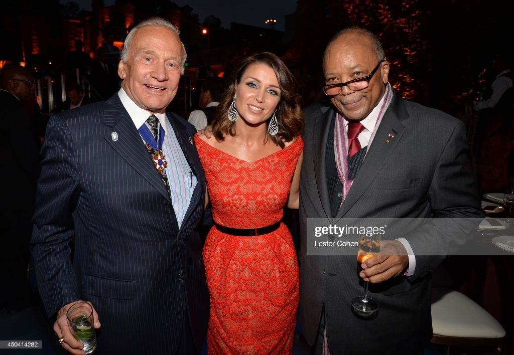 Astronaut <a gi-track='captionPersonalityLinkClicked' href=/galleries/search?phrase=Buzz+Aldrin&family=editorial&specificpeople=90480 ng-click='$event.stopPropagation()'>Buzz Aldrin</a>, host <a gi-track='captionPersonalityLinkClicked' href=/galleries/search?phrase=Dannii+Minogue&family=editorial&specificpeople=201978 ng-click='$event.stopPropagation()'>Dannii Minogue</a>, and Producer <a gi-track='captionPersonalityLinkClicked' href=/galleries/search?phrase=Quincy+Jones&family=editorial&specificpeople=171797 ng-click='$event.stopPropagation()'>Quincy Jones</a> attend a gala to celebrate Etihad Airways' world-class, non-stop service between Los Angeles and Abu Dhabi at the iconic Beverly House on June 10, 2014 in Beverly Hills, California.