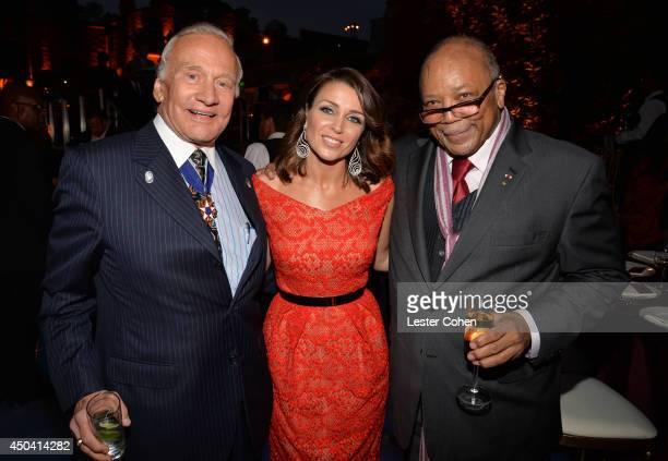 Astronaut Buzz Aldrin host Dannii Minogue and Producer Quincy Jones attend a gala to celebrate Etihad Airways' worldclass nonstop service between Los...