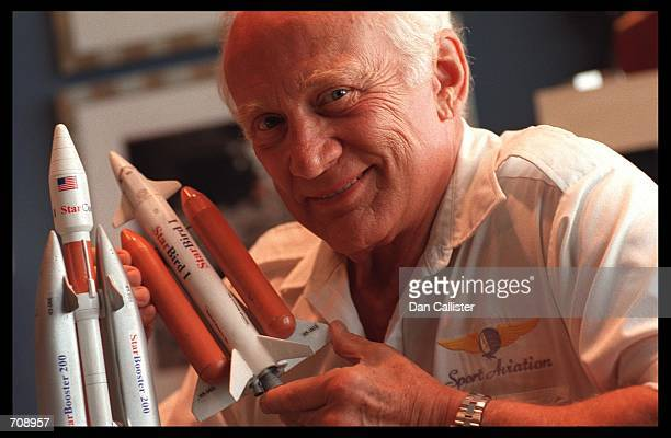 Astronaut Buzz Aldrin is shown at his home study July 11 1999 in Beverly Hills CA