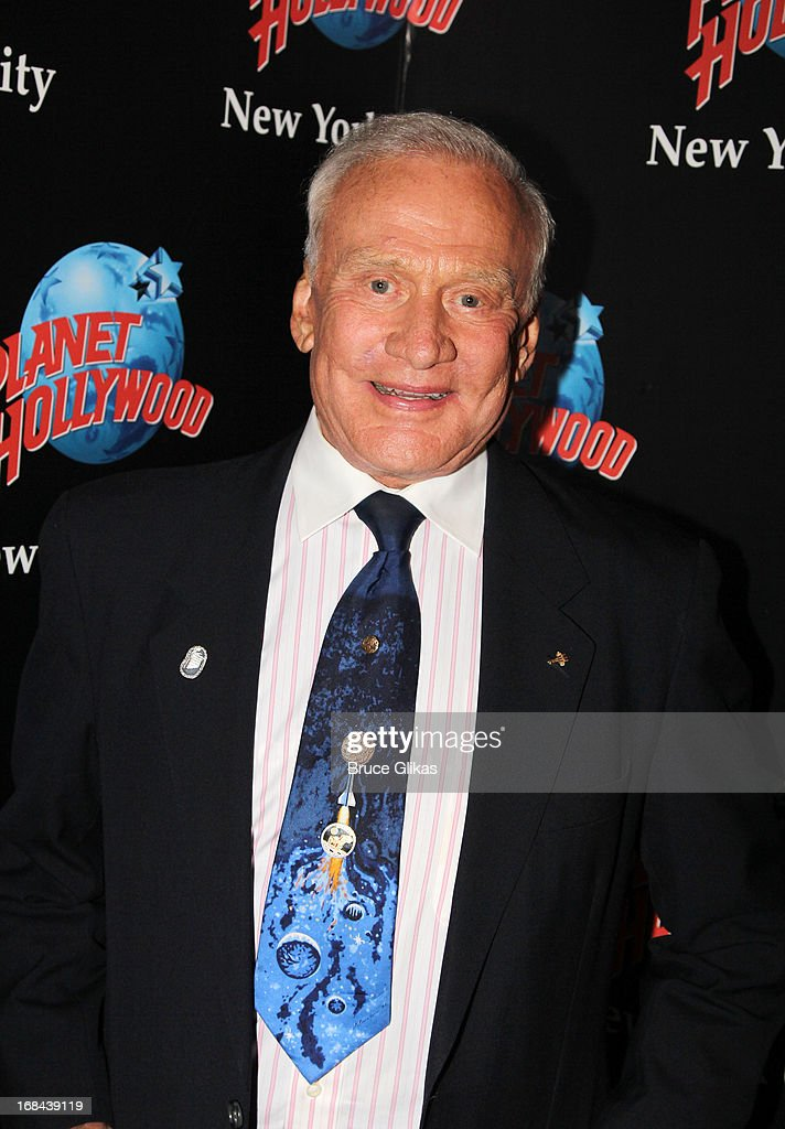 Astronaut <a gi-track='captionPersonalityLinkClicked' href=/galleries/search?phrase=Buzz+Aldrin&family=editorial&specificpeople=90480 ng-click='$event.stopPropagation()'>Buzz Aldrin</a> promotes his book 'Mission to Mars: My Vision for Space Exploration' at Planet Hollywood Times Square on May 9, 2013 in New York City.