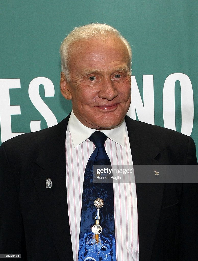 Astronaut Buzz Aldrin promotes the new book 'Mission to Mars: My Vision for Space Exploration' at Barnes & Noble Union Square on May 7, 2013 in New York City.