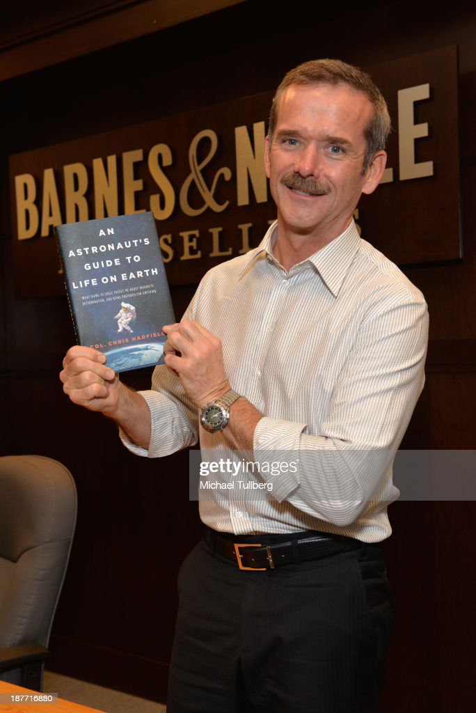 Astronaut Colonel Chris Hadfield appears at a signing for his book 'An Astronaut's Guide To Life On Earth' at Barnes & Noble bookstore at The Grove on November 11, 2013 in Los Angeles, California.