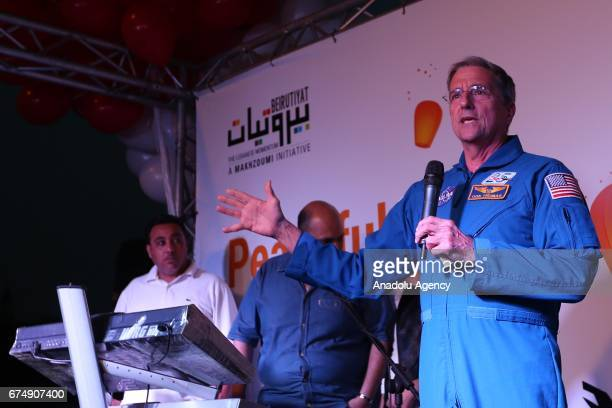 NASA astronaut Donald Thomas gives a speech during an event celebrating the anniversary of end of the Lebanese civil war in Beirut Lebanon on April...