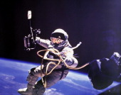 Astronaut Edward H White II first US extravehicular activity outside the two manned spacecraft Astronaut James A McDivitt was commander during the...