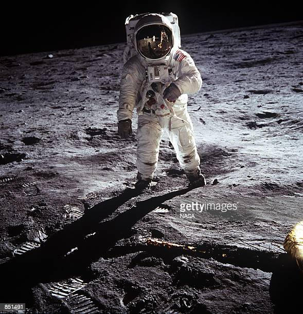 Astronaut Edwin E Aldrin Jr walks near the Lunar Module during the Apollo 11 extravehicular activity July 20 1969 on the Moon The 30th anniversary of...
