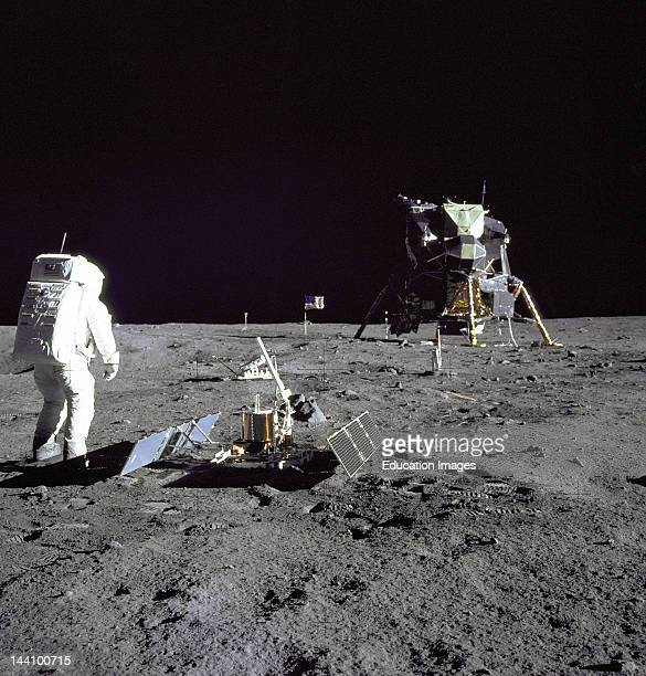 Astronaut Edwin E'Buzz' Aldrin Jr Lunar Module Pilot Is Photographed During The Apollo 11 Extravehicular Activity On The Moon He Has Just Deployed...