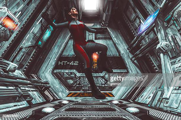 Astronaut floating in zero-gravity, spaceship, travel